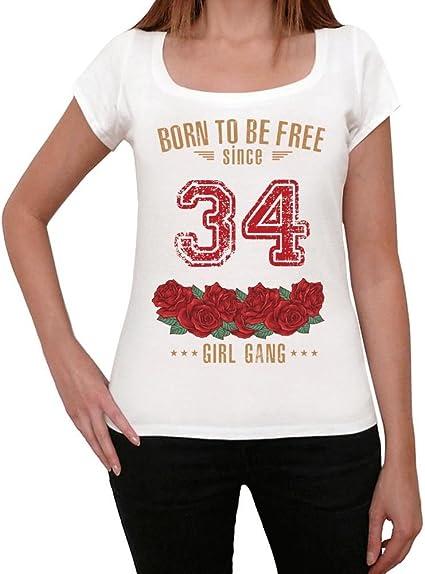 34, Born to be Free Since 34 Mujer Camiseta Blanco Regalo De Cumpleaños 00518: Amazon.es: Ropa y accesorios
