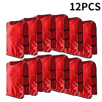 12pcs Petos de Entrenamiento Petos de Fútbol para Adultos ( Color   Rojo ) c007756cd57