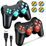PS3 Controller Wireless Dualshock 3, TPFOON 2 Pack Double Shock Gamepad for PlayStation 3 Remotes, Sixaxis Wireless PS3 Controller with Charging Cable and 4 Thumb Caps (Red+Blue) (Color: Red+Blue)