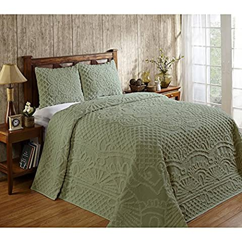 3 Piece Sage Green Chenille Geometric Tufted Pattern Bedspread Queen Set, Elegant High-Class Luxurious Rich Motif Textured Design, Reversible Bedding, Shabby Chic Country Style, Natural Color, - Sage Green Chenille