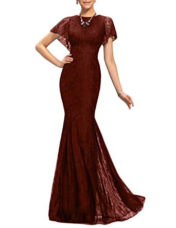 1a826396a YSMei Women s Long Mermaid Lace Wedding Guest Party Dresses Formal Prom  Pageant Gowns Dark Burgundy 2