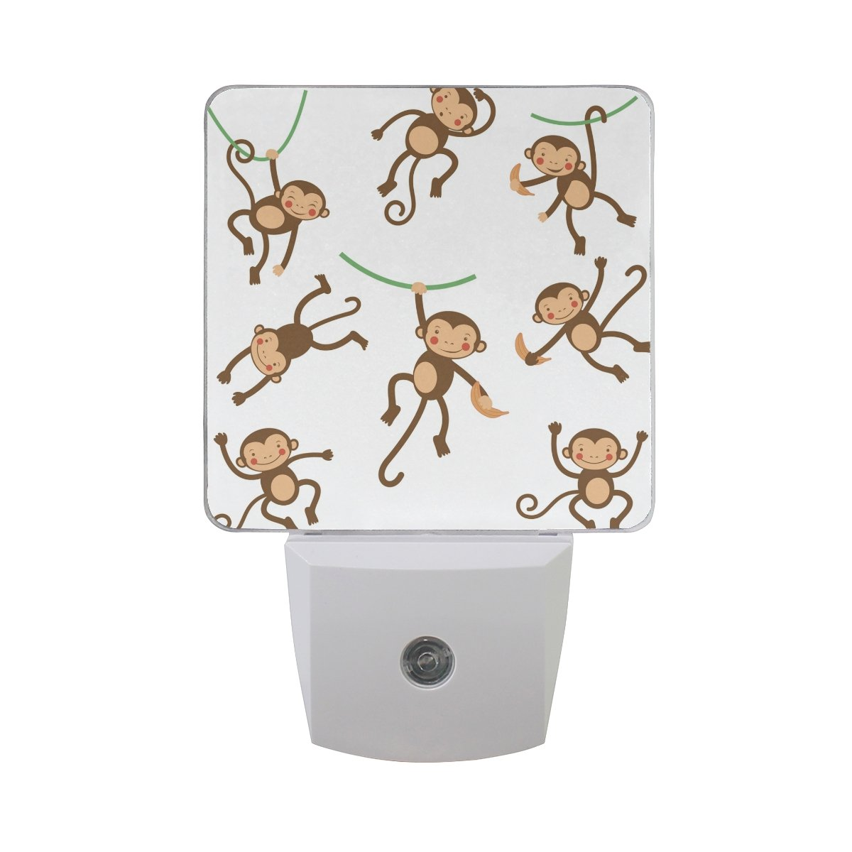 XinMing Cute Funny Monkey White LED Sensor Night Light Super Bright Power Dusk To Dawn Sensor Bedroom Kitchen Bathroom Hallway Toilet Stairs Energy Efficient Compact(2 PACK)