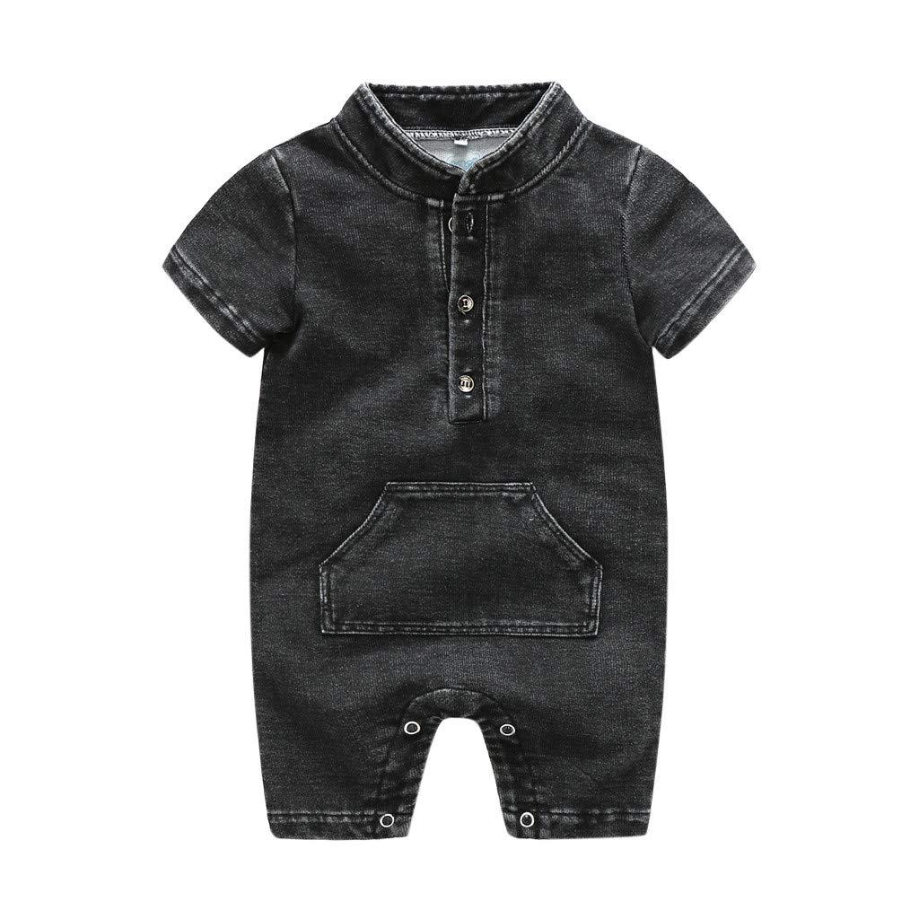 NUWFOR Newborn Infant Baby Girls Boys Summer Denim Solid Romper Jumpsuit Outfits(Black,0-6 Months)