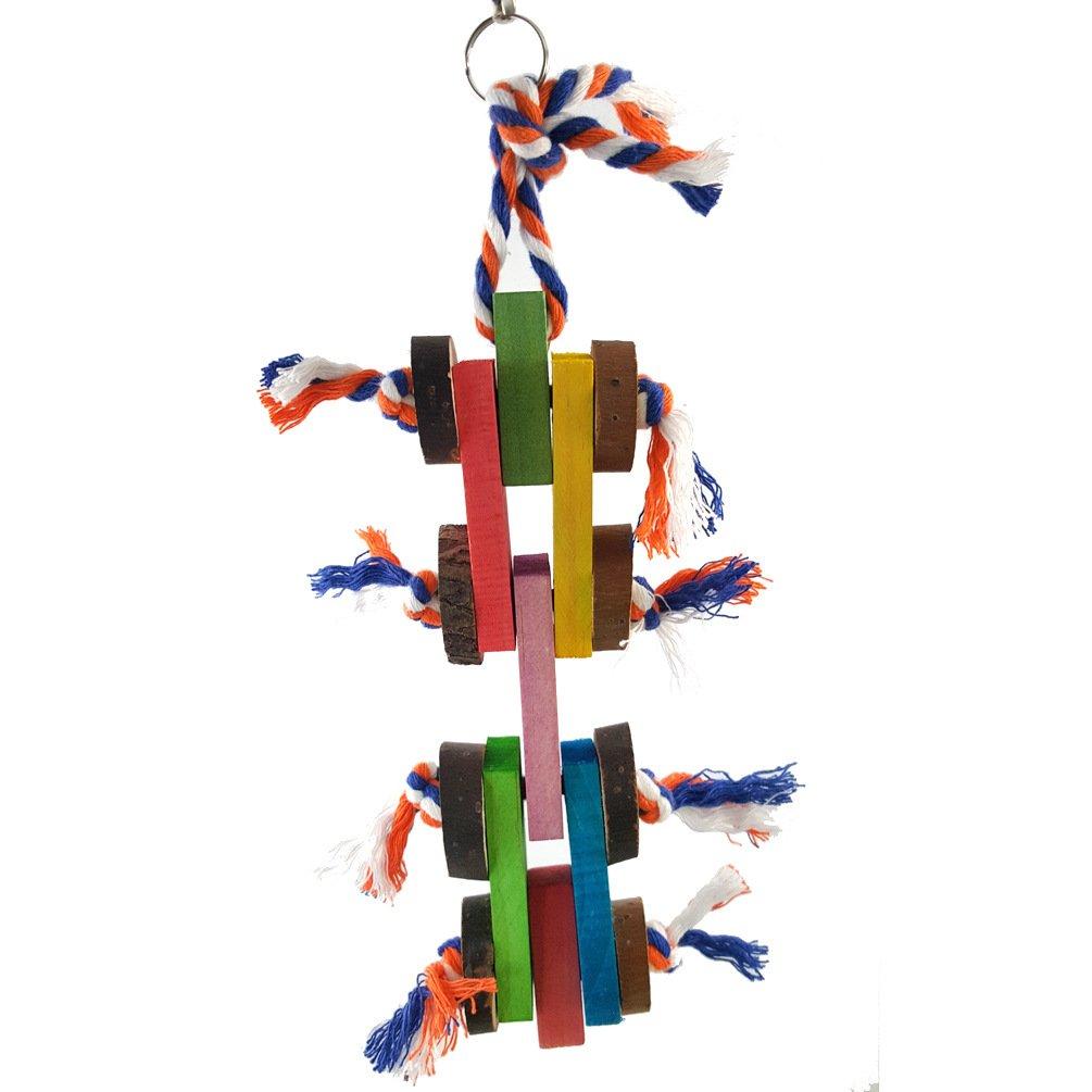 Limin Giocattolo da masticare per uccelli, forniture per pappagalli Corda in cotone resistente in legno colorato, appeso a catenelle di piante, morso di corda