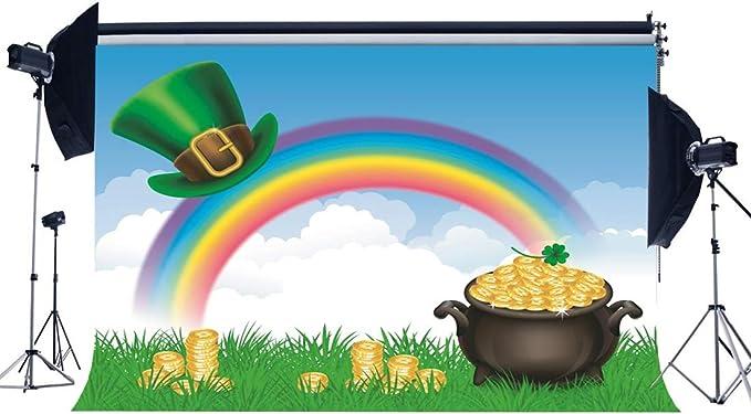 Wofawofa Happy St.Patricks Day Backdrop 10X8FT Vinyl Lucky Irish Shamrock Backdrops Pot of Gold Leprechauns Hat Golden Coins Wood Plank Green Beer Photography Background for Photo Studio Props EB211
