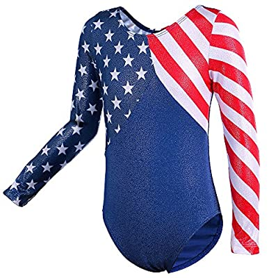 Toddlers Stars and Stripes Sparkle Spliced Dancing Tumbling Biking Swimming Athletic Gymnastics Leotard for Girls 5-14 Years