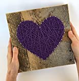 Large Purple string art heart reclaimed wood sign. A unique gift for Weddings, Anniversaries,Birthdays, Valentine's Day, Christmas, new babies, housewarming and just because.