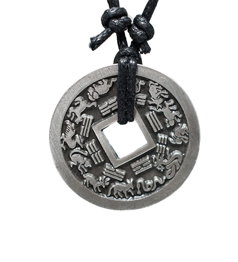 Chinese Lucky Coin Charm Pewter Pendant + Rope Necklace Adjustable … exoticdream chns_bigdp