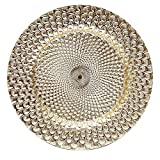 Charge It By Danny Peacock Silver Or Gold Round Charger Plates Thick Premium Quality With Eletroplating Finish, PACK OF 6 … (Peacock Gold)