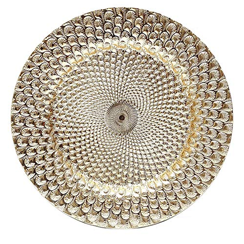 Charge It By Danny Peacock Silver Or Gold Round Charger Plates Thick Premium Quality With Eletroplating Finish, PACK OF 6 … (Peacock Gold) by Charge It By Danny
