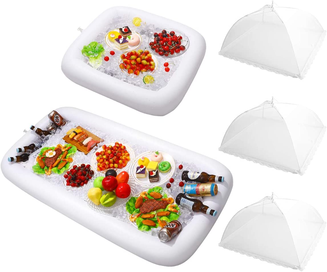 HEMOTON 2PCS Inflatable Serving Bars with Drain Plug - Food Drink Salad Buffet Tray with Mesh Food Cover for Indoor and Outdoor Party Pool Picnic Luau