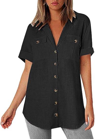 Navy, XXL Women Oversize Blouse Plus Size Button Up Shirt Loose Button Long Shirt Cotton Ladies Casual Tops T-Shirt