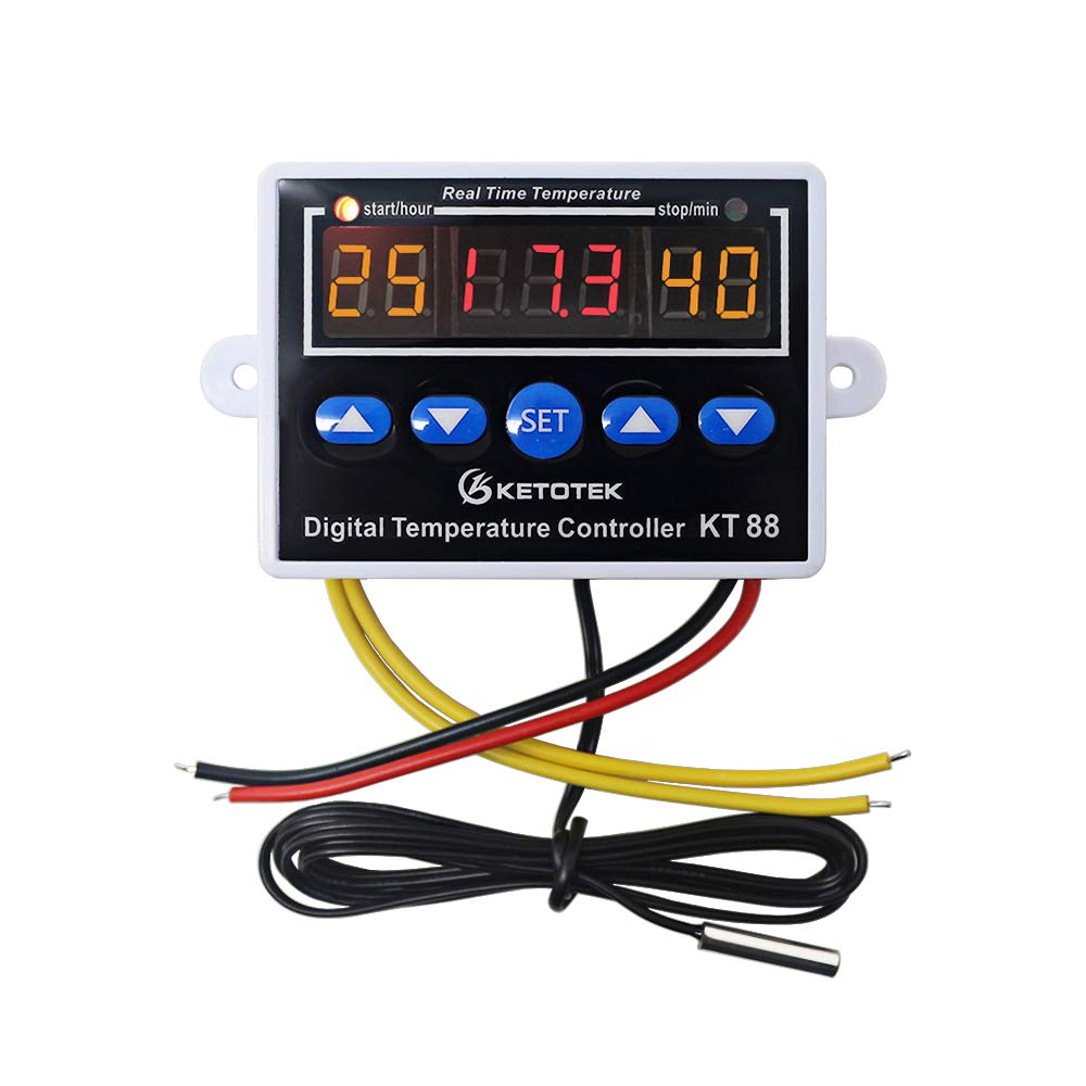 KETOTEK Digital Temperature Controller Thermostat Regulator Sensor with Probe Heating/Cooling LED Display for Home, Reptiles, Seedling Germination, Brewing, fermentation, Heating - 110V