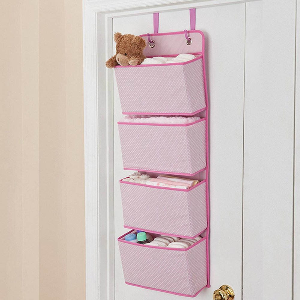 Wall Door Hanging Storage Bag,Sturdy Durable Door Hanging Hook Organiser Wardrobe Shoes Storage Pockets Bag for Toys,Clutch Purses, Bottles,Towels, Scarves, Sunglasses,etc-4 Pockets Pink