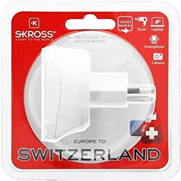 Skross 1.500205 Europe to Switzerland, Adaptador de viaje para viajar desde Europa a países que utilizan la norma suiza. Enchufe de salida: Suiza, Blanco: Amazon.es: Electrónica