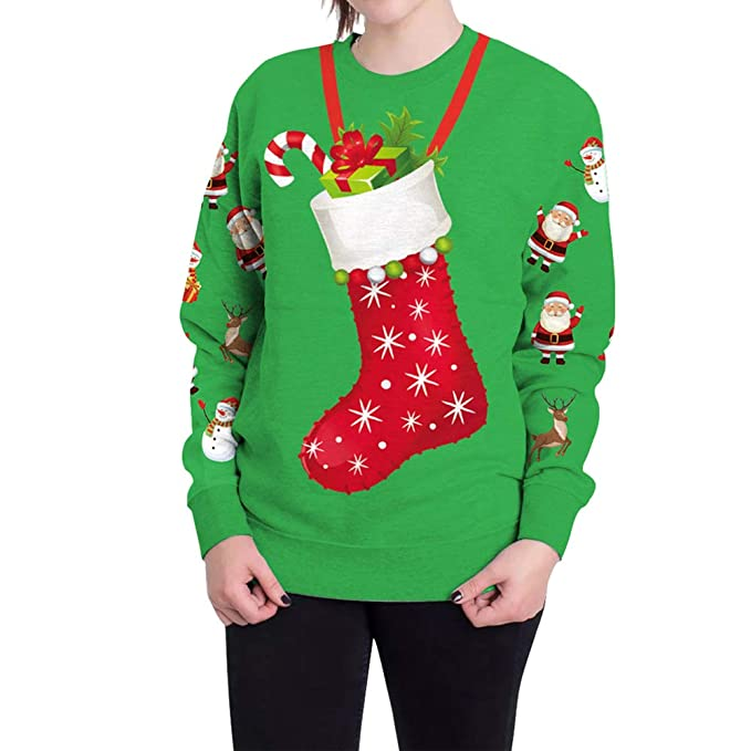 Morbuy Unisexo Sudaderas Navidad Hombre, Mujer 3D Impresas Otoño e Invierno Sin Sudadera con Capucha Ocio Manga Larga Ugly Pullover Tops Sweatshirt: ...