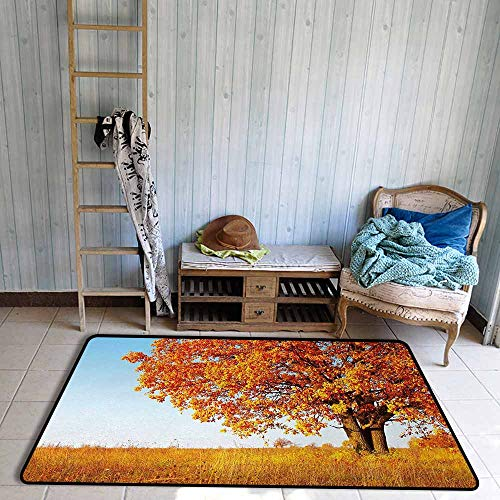 Children's Rugs Playrug Rugs Fall Lonely and Ancient Oak Tree Grass Bushes Field Serene Rural Scenery Anti-Fading W55 xL63 Orange Yellow Pale Blue