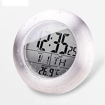 AISSION Wall Clock Ducha Reloj de pared digital impermeable Medidor de temperatura armario Baño de aspiración: Amazon.es: Hogar