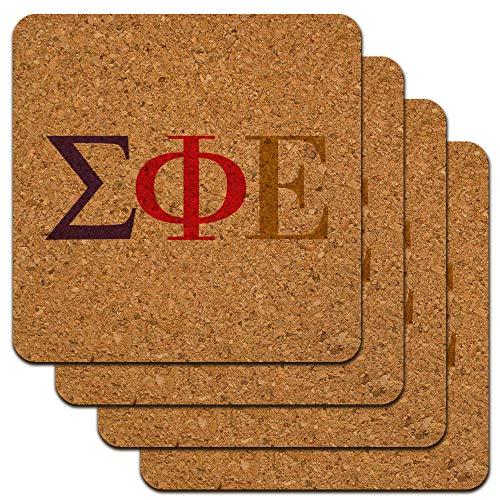 (Sigma Phi Epsilon Fraternity Greek Letters Color Low Profile Novelty Cork Coaster Set)