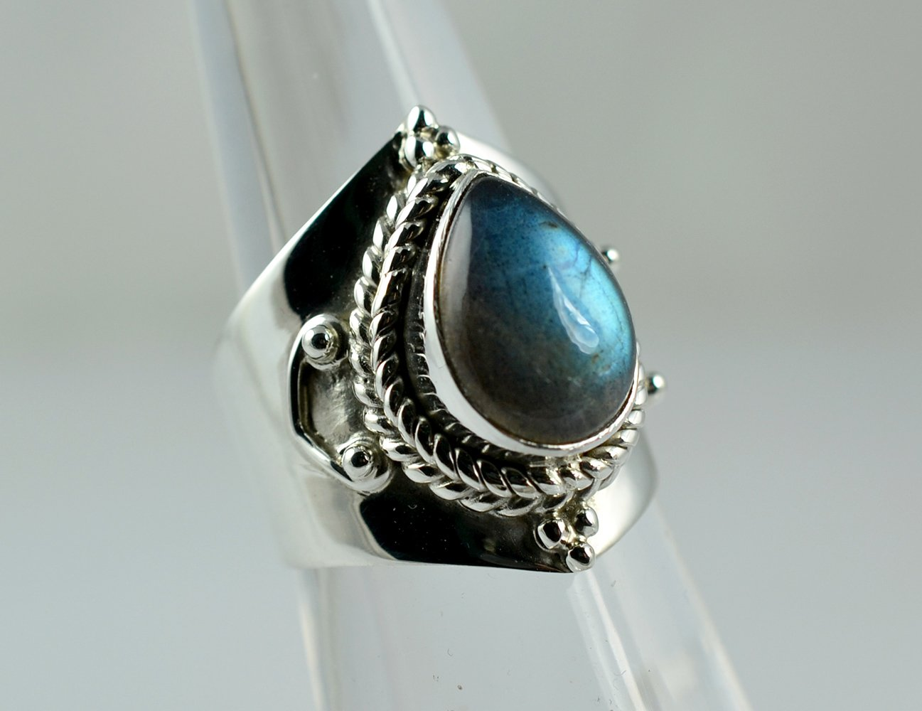 anillo de plata labradorita fuego azul tama/ño 4 a 31 ES anillo de plata joyer/ía hecha a mano Anillo de plata labradorita plata de ley 925