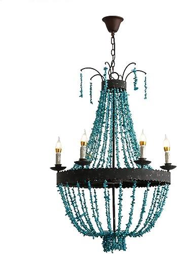 KunMai Vintage Style Turquoise Bead Strands Rust Metal Frame 5-Light Large Chandelier