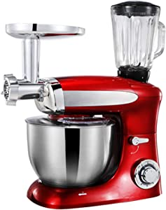 6.5L High Capacity Stand Mixer Tilt-Head Kitchen Electric Food Processor, with Dough Hook, Whisk, Beater, for Wheaten Food, Salad, Cake, Juicing, Ground Meat, 1300W,Red