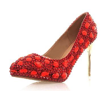 Mnii Frauen Kristall Sequins Rot Schuhe Glitzer Wunderschone