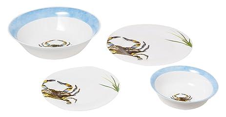 Galleyware Blue Crab Shell 13-Piece Tempered Glass Dinnerware Set  sc 1 st  Amazon.com & Amazon.com | Galleyware Blue Crab Shell 13-Piece Tempered Glass ...