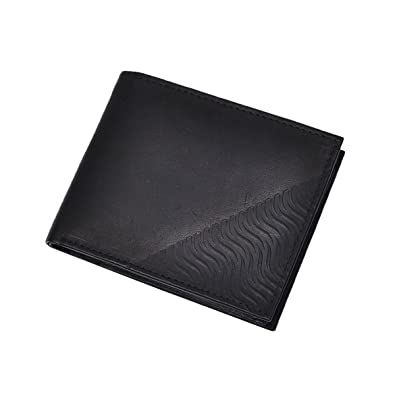 Hawai Men Casual Black Genuine Leather Wallet  6 Card Slots