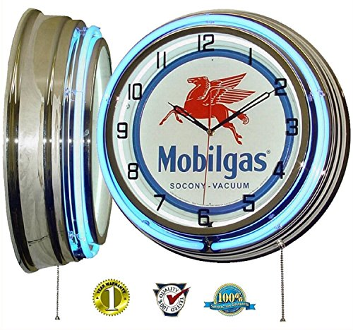 "MOBIL ONE MOBILGAS FLYING PEGASUS 18"" DUAL NEON LIGHT WALL CLOCK GASOLINE GAS FUEL PUMP OIL SIGN BLUE"