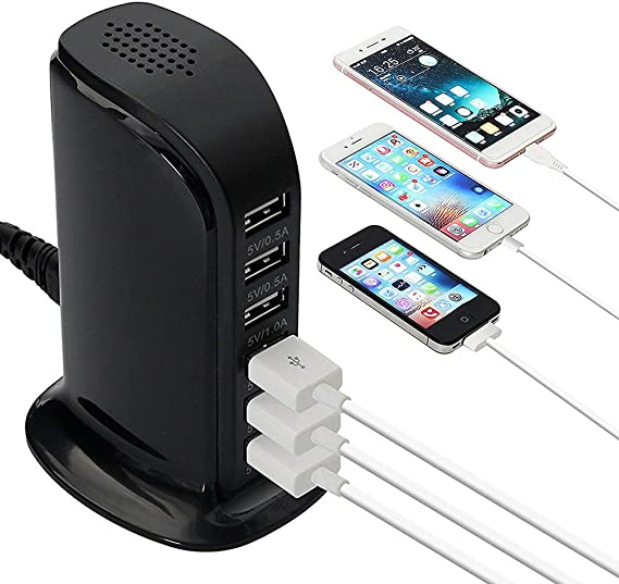 Wall Charger 8A Desktop Tower Rapid-Charging Station 6 Ports with Smart IC Tech