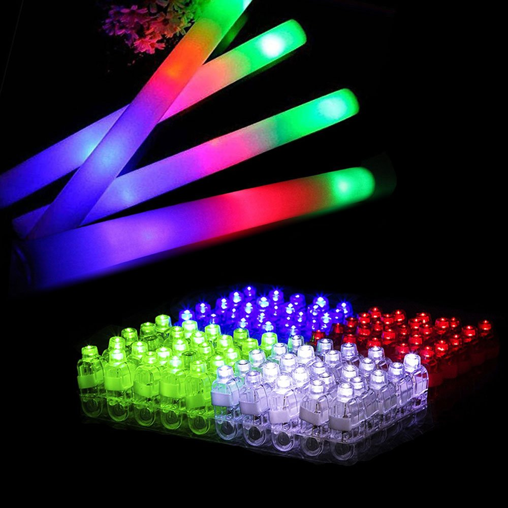 Blu7ive LED Finger Lights 100 Pack and Glow Foam Sticks 12 Pack Set - Glow in the Dark Party Supplies Light Up Toys for Kids, Birthday, Wedding, Christmas, Halloween