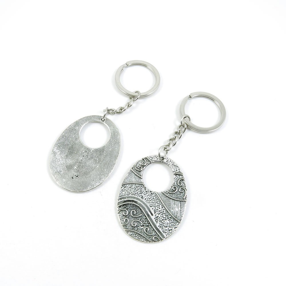 100 Pieces Keychain Door Car Key Chain Tags Keyring Ring Chain Keychain Supplies Antique Silver Tone Wholesale Bulk Lots G6BF1 Hollow Oval Signs