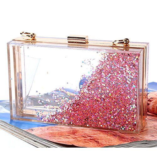 creativo Le paillettes scintillante Rabbit borsa donne tra Quicksand scegliere cui Color multi acrilico sera colore Lovely Purple traslucido Pink da 0qxI5A40n