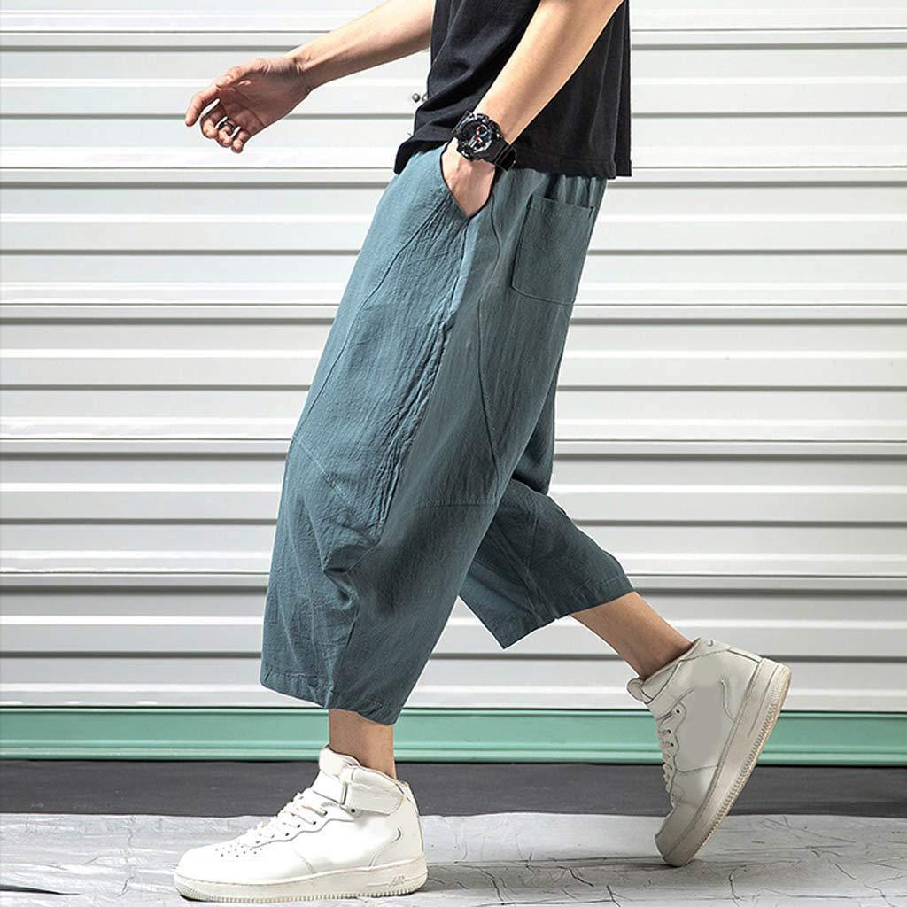 Wide Leg Pants for Men,Sunyastor Men's Baggy Casual Trousers Cotton Linen Loose Harlan Pants Elastic Waist Pants Pockets Blue by Sunyastor men pants (Image #4)