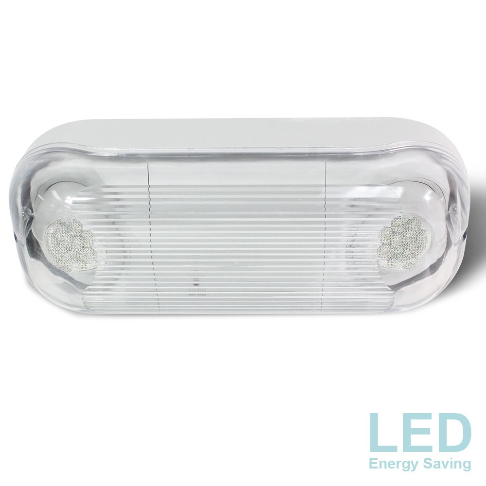 eTopLighting LED Hardwired Outdoor / Indoor Emergency Light, Wet Damp Listed, Energy Saving LED Beads & Durable Body Material, Minimal Maintenance, AGG2281 AGG2281-CA