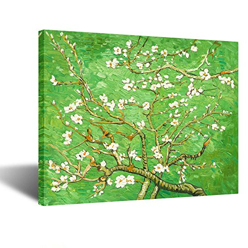 Creative Art- Canvas Prints Giclee Artwork for Wall Decor Classic Van Gogh Artwork Oil Paintings Reproduction Almond Blossom Canvas Picture Photo Prints on Canvas Art for Wall (Green)