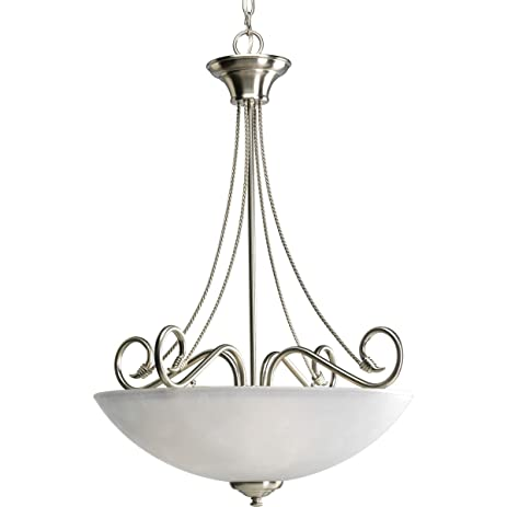 Progress Lighting P3325-09 3-Light Pavilion Inverted Pendant Brushed Nickel  sc 1 st  Amazon.com & Progress Lighting P3325-09 3-Light Pavilion Inverted Pendant ...