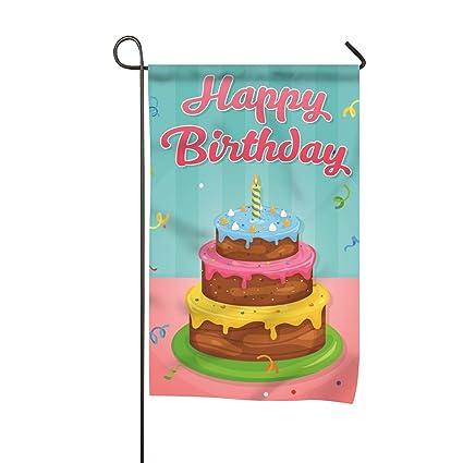 Amazon.com : Happy Birthday Cake Illustration Garden Flag Decorative ...