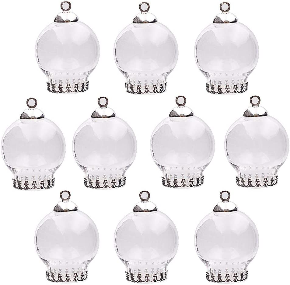 Silver Crown Base 10pcs 20x12mm Cute Mini Clear Glass Globe Bottle with findings Set Glass Dome Cover Glass Vial Pendant Jewelry findings Supply
