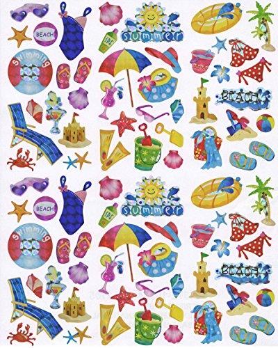 Laser Stickers ~ Summertime Fun at the Beach (84 Stickers, 1 Sheet)