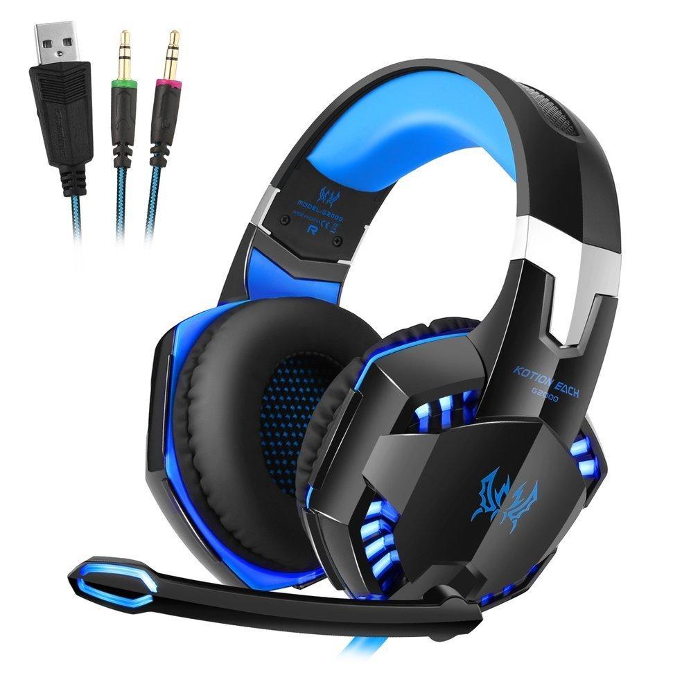Auriculares Cascos Gaming de Mac Estéreo con Micrófono Juego Gaming Headset con 3.5mm Jack Luz LED Bajo Ruido Compatible con PC Xbox One, PC ,Móvil