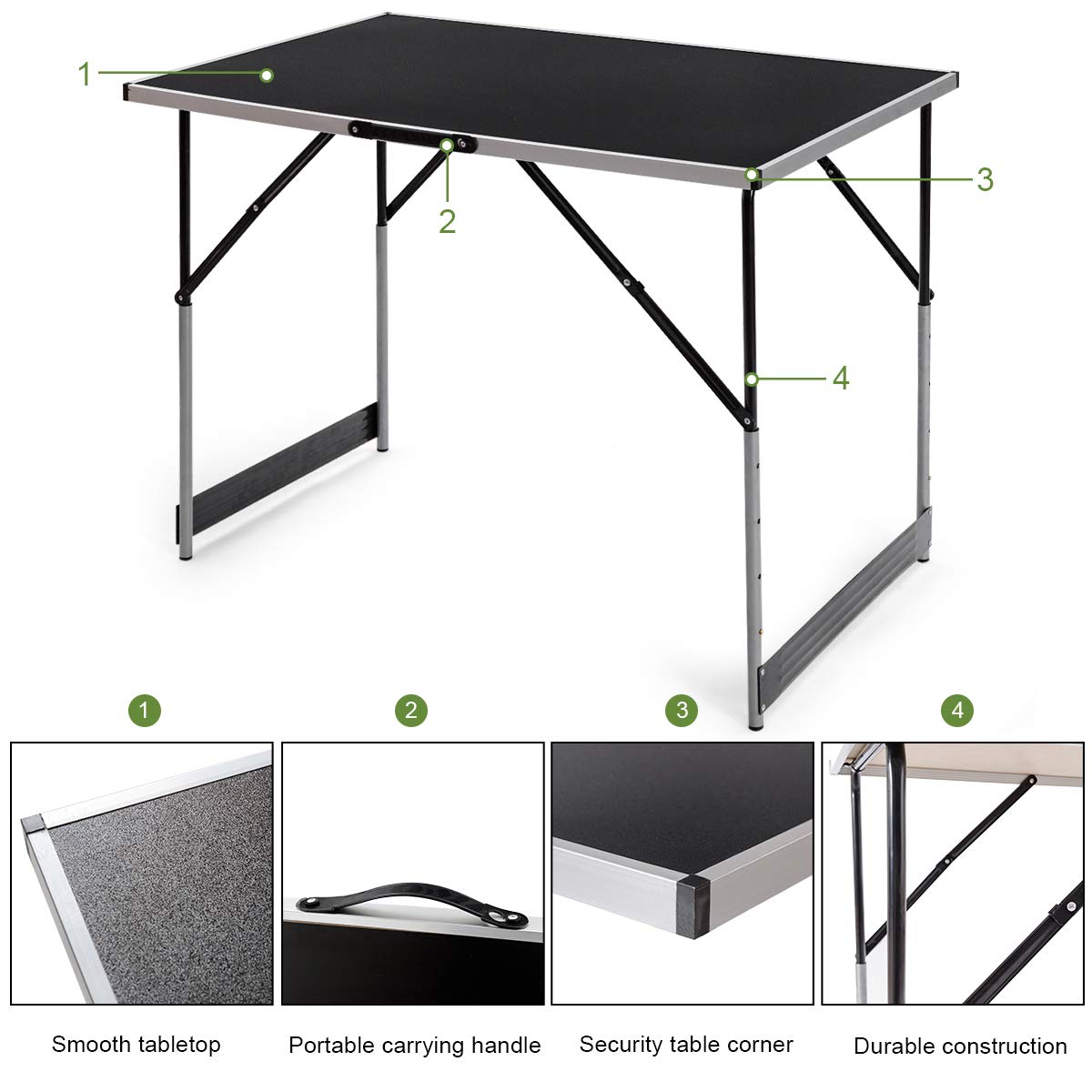 3 Pieces Height Adjustable Patio Garden Outdoor Beach BBQ Camp Portable Table Easy Clean Table Top Collapsible Camping Tables Giantex Camping Folding Picnic Table Aluminum Set