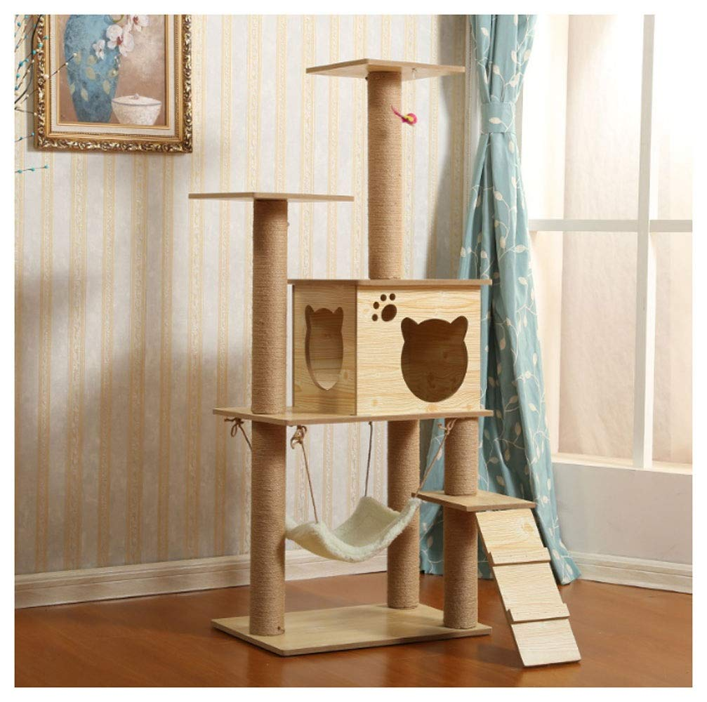 Beige Cat climbing frame Cat Tree Plush Climbing Nest Jumping Toy Natural Sisal Rope Cathead, Pet Supplies Strong and steadily (color   Beige)