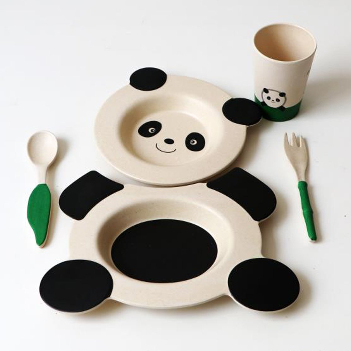 Yxisn5 Kids Tableware/Dinnerware Set include dishes/bowl spoons plates cups fork 5 Piece Set cute panda style made by straw recycled materials