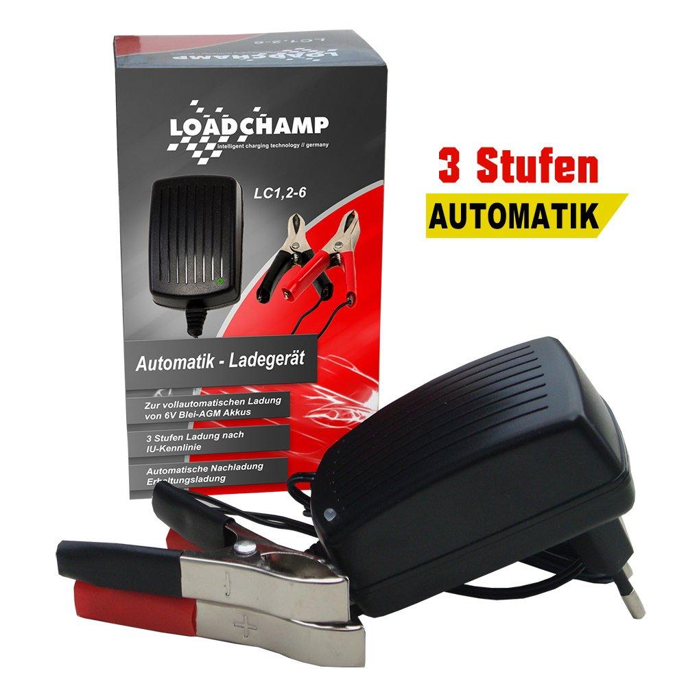 Automatik 6V 1, 2A Blei Akku Ladegerä t fü r 1, 2Ah 3, 4Ah 4Ah 4, 5Ah 5Ah 7Ah 7, 2Ah 12Ah Batterie Loadchamp LC1 2-6