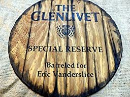 Personalized decorative Sign - whiskey barrel top | Handpainted Glenlivet whisky artwork and your additional message on a distressed wood sign | Rustic wall decor