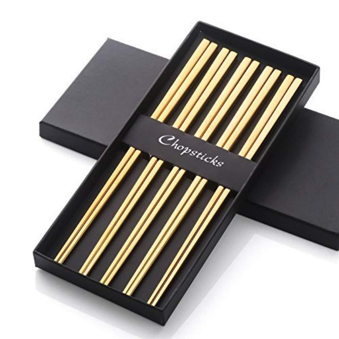 5 pares de palillos chinos de acero inoxidable reutilizables de metal 304 18/8 forma cuadrada hueca para juego de vajilla de sushi dorado