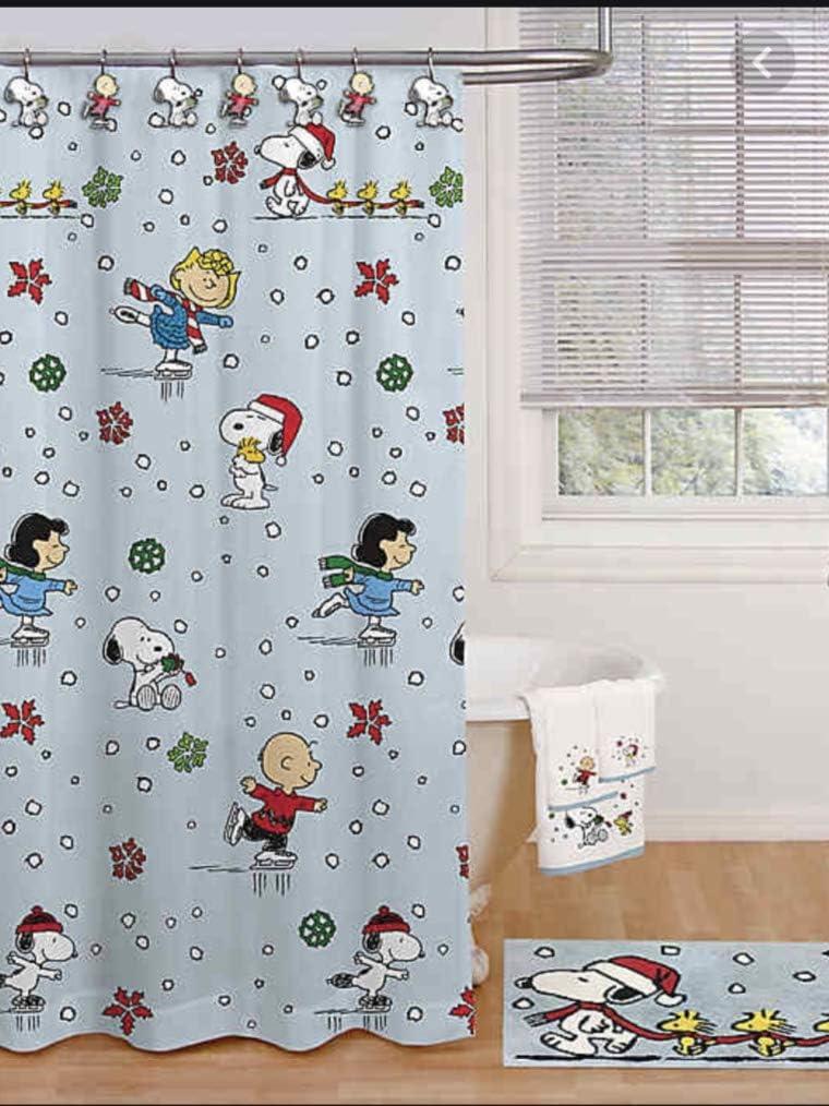 Peanuts Snoopy Holiday Skating Christmas Shower Curtain & Hooks Set