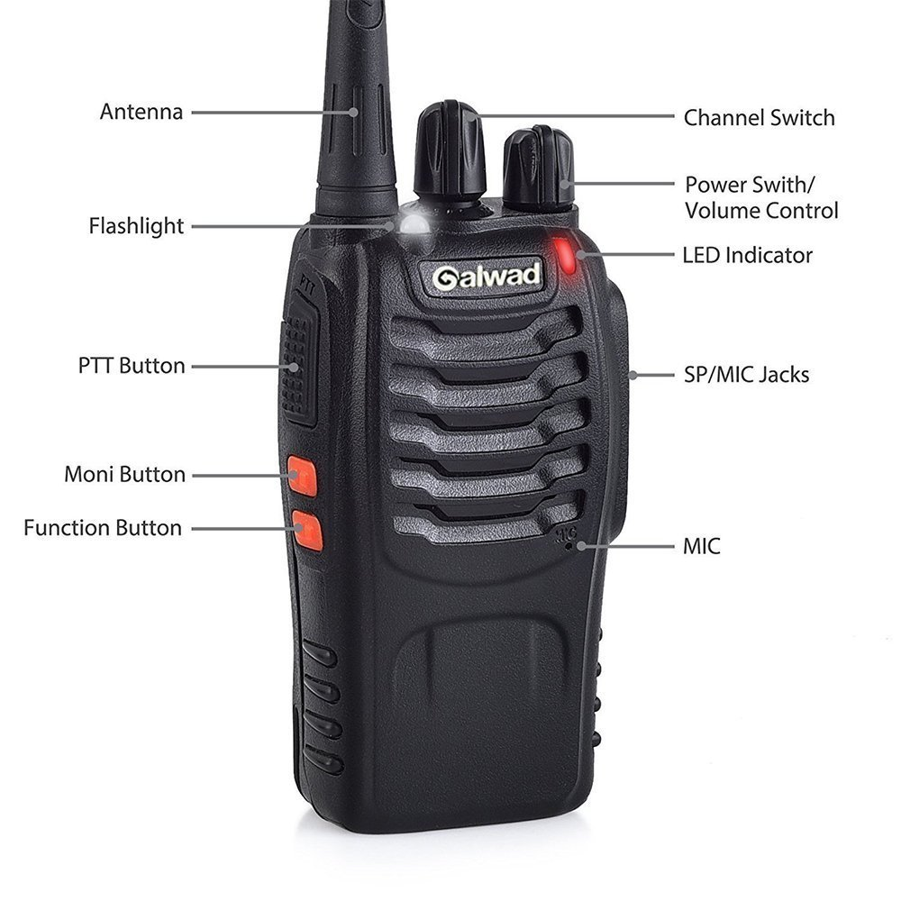 Walkie Talkie 16 Channels Long Range Two Way Radio 2pcs Radios Box Contain Two of Every Item (2 Radios,2 Rechargeable Batteries,2 Lanyards,2 Clips,2 Antennas,2 Chargers,2 Headphones,2 Manuals) by Galwad (Image #4)